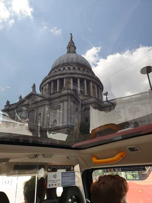 Black Cab Tours of London - zero emissions black cab taxi - St Pauls through the glass roof